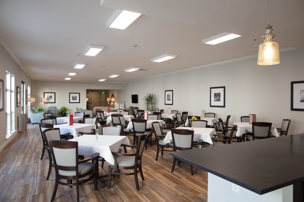 Dining room at assisted senior living community