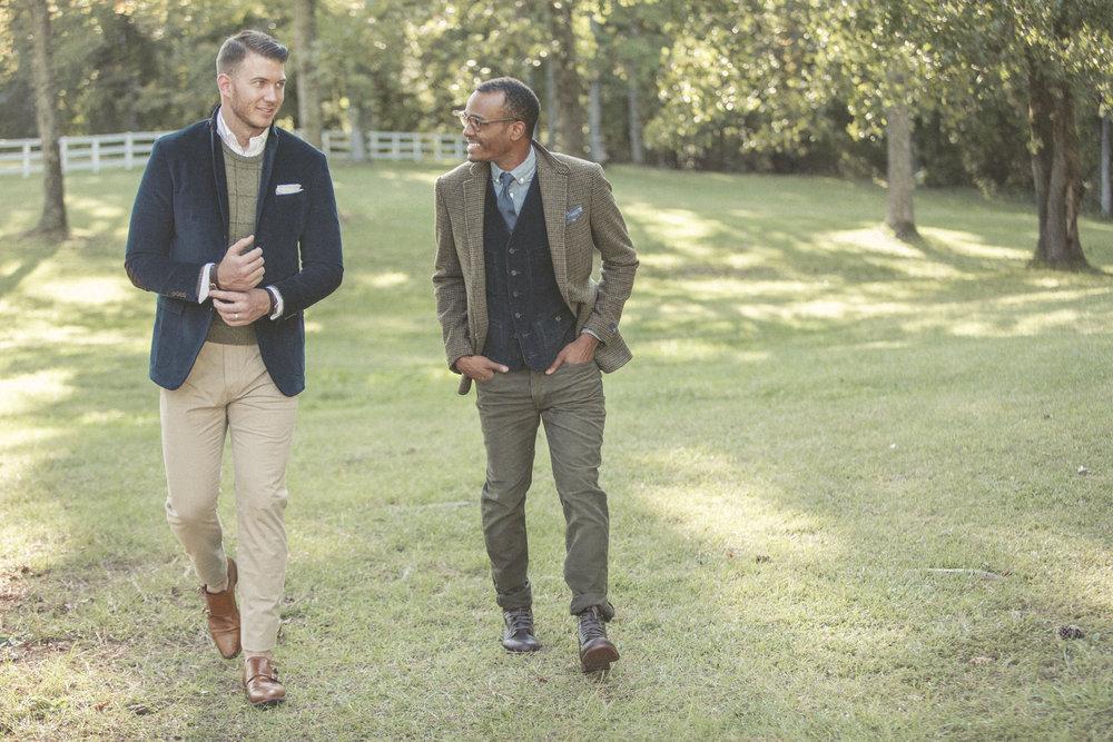 Male models in vintage sport coats and pocket squares