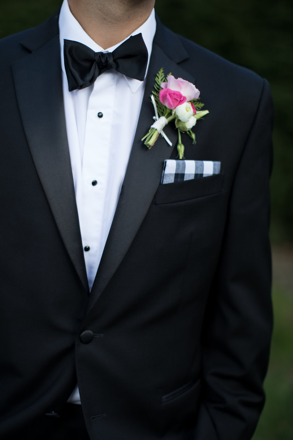 Wedding photography southern groom pocket square tuxedo bowtie
