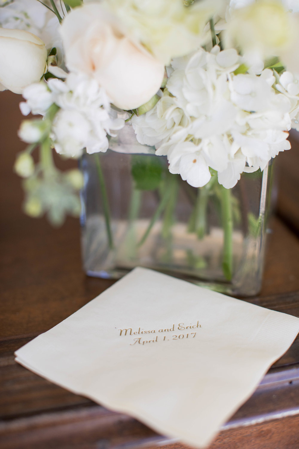 Wedding photography cocktail reception custom napkin