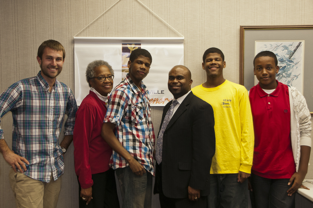 From left to right, Dan Weidenbenner (MVF Director), Deacon Peggy Baxter, Marcellus Stokes (MVF Youth Partner), Pastor Sean Dogan, Morrell Stokes (MVF Youth Partner), and Shannon Johnson (MVF Youth Partner).