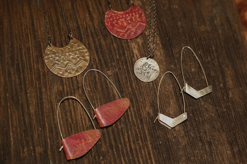New work in progress: no-solder hoops, woven earrings.
