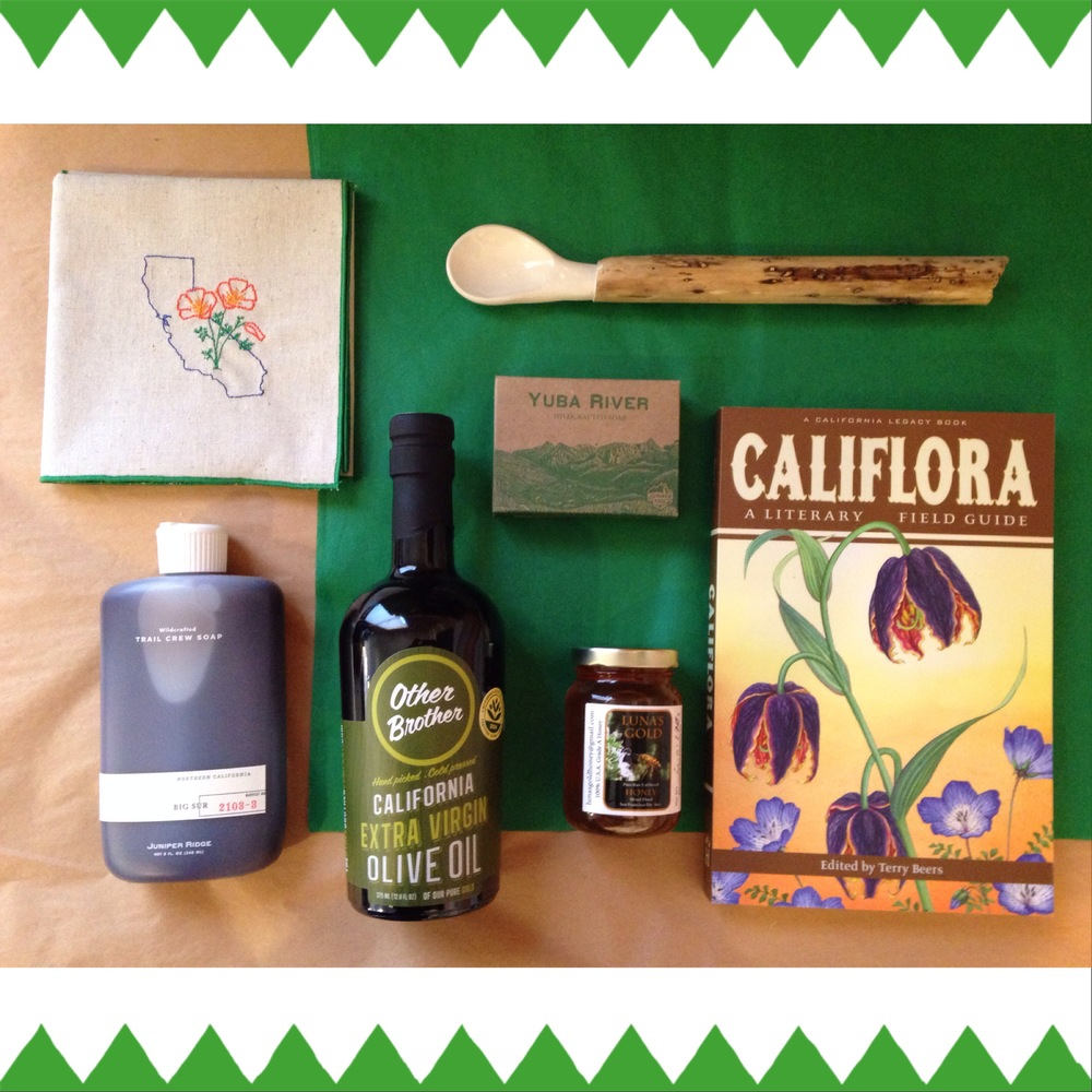 Clockwise from top left: Eko Kreations napkin; Linda Fahey driftwood spoon; Juniper Ridge regional specific soap; Califlora: A Literary Field Guide, edited by Terry Beers; Luna's Gold honey from Pescadero; Other Brother California olive oil; Juniper Ridge Trail Crew body wash.