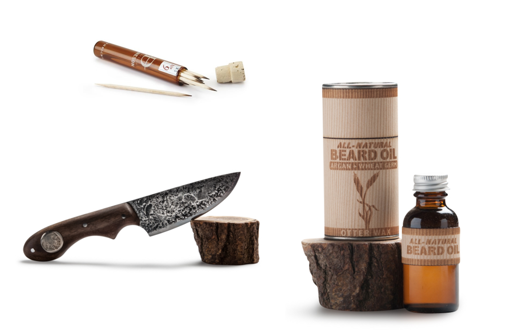 Single-Malt birch toothpicks, Daneson; Nickel knife, Oaks Bottom Forge; Argan & Wheat Germ Beard Oil, Otterwax.