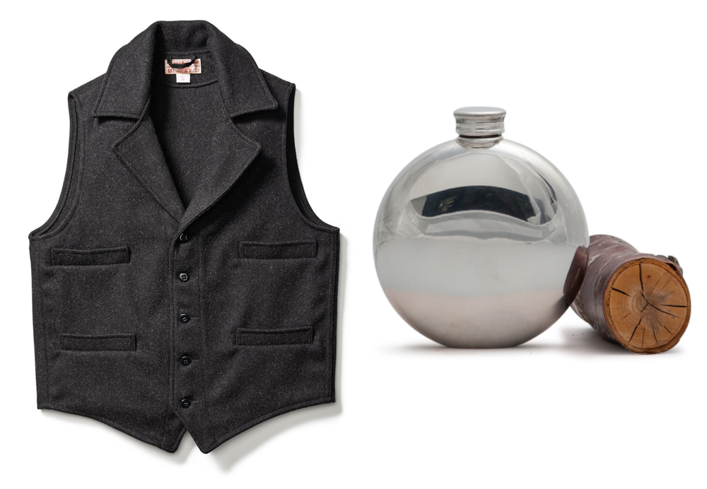 Vest, Filson ; Pewter Flask, Wentworth.