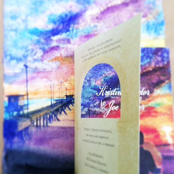 Invitations with archway cutout