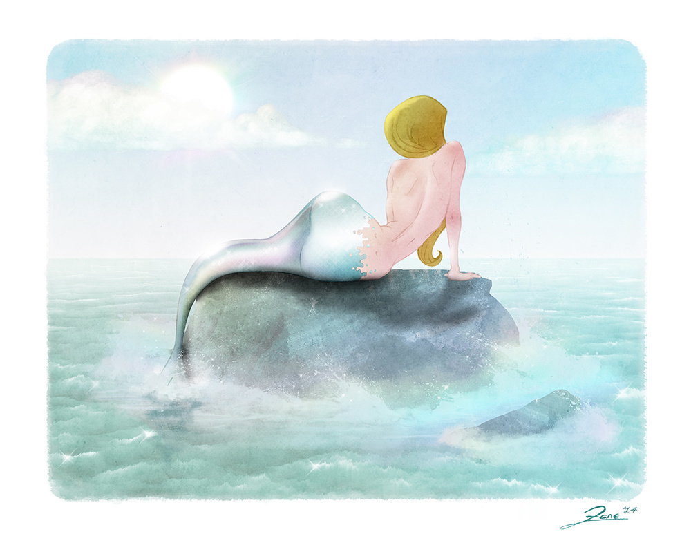 Mermaid, graphite and digital.