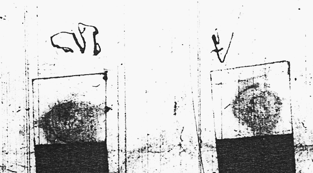 The marks of George Dickinson and John Dickinson in the probate bond of William Dickinson in 1614.      John's mark should be the one on the right, and may be the same as the animal branding used by Streetgate .