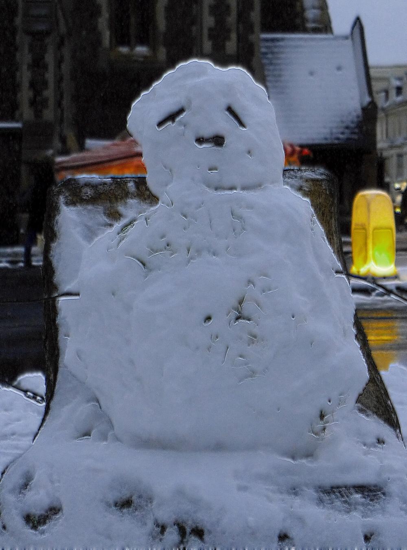 Snowman? More like snow polar bear.