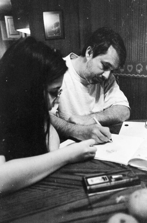 Middle school summer, San Antonio: me and dad, drawing with my first set of rapidographs