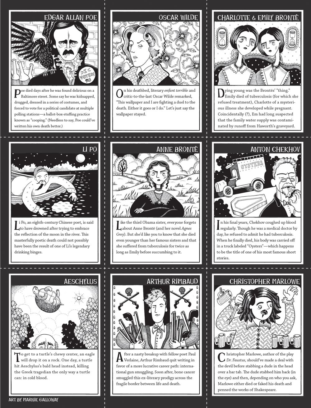 """Literary Undertakings: Dead Author Trading Cards,"" Cicada Magazine, Sept/Oct 2014"