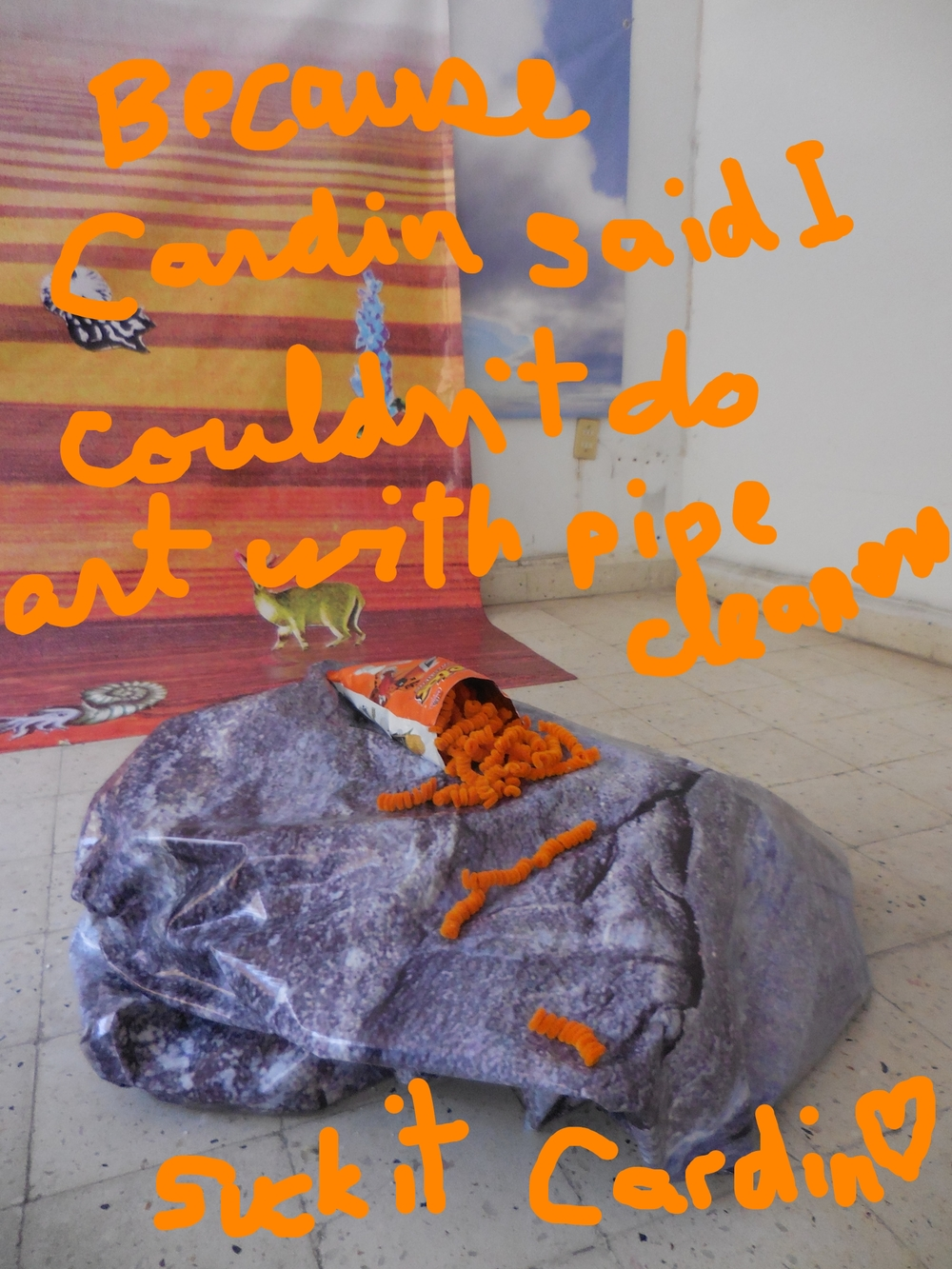 Cheetos,  pipe cleaners and a bag of cheetos. Rock by Mathieu Cardin, background by David Bellemare.