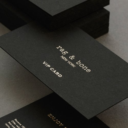 Dot studio satin gold foil stamping debossing on ebony black colorplam papernbsp vip cards reheart