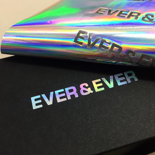 Dot studio holographic foil printing debossing business cards custom boxes printed for ever amp ever colourmoves