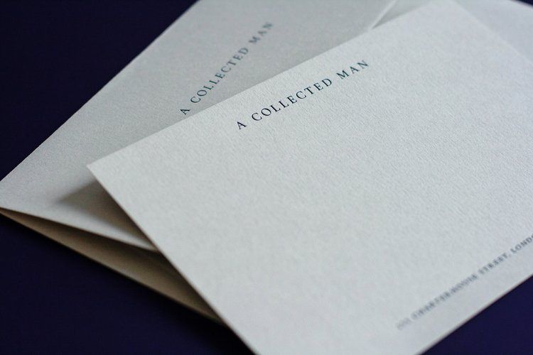 Dot studio business stationery printed for a collected man london dark blue foil blocking on real grey reheart Images