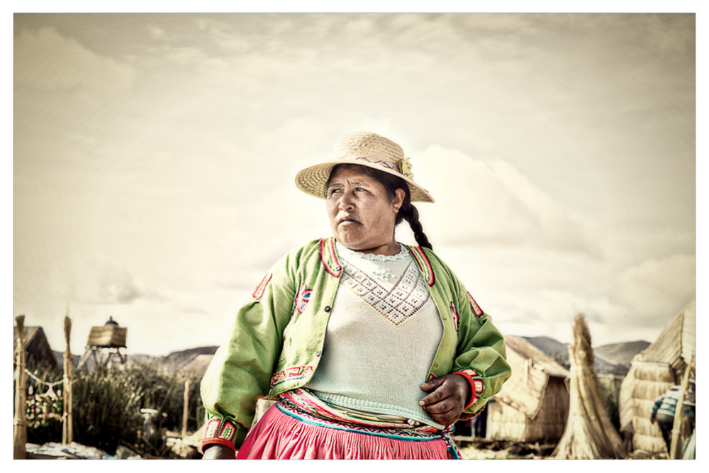 "The so called ""President's Wife"" of the floating islands on Lake Titicaca."