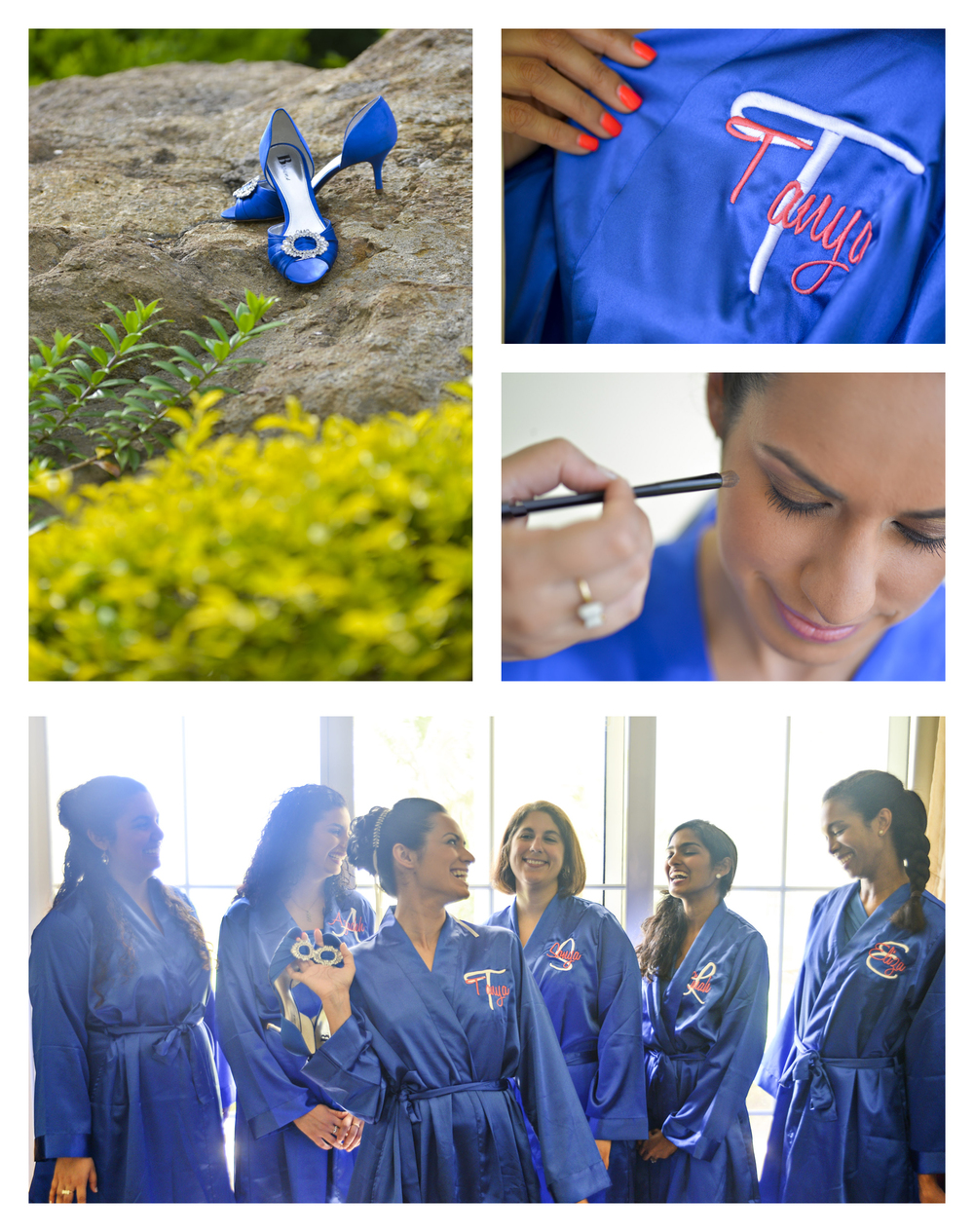 Tanya thought of everything, including these blue robes for her and all her bridesmaids.
