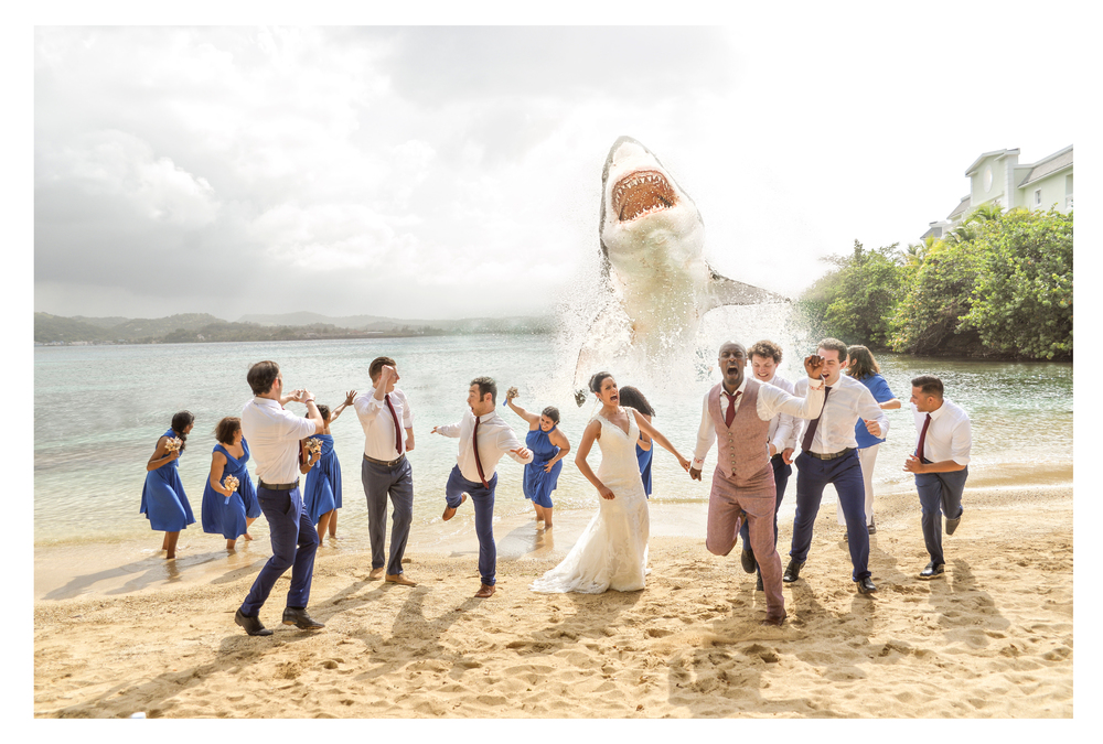 This extra special request took some time in photoshop to perfect, but what a great shot! Big shout out to the whole wedding party for really committing to the idea and giving their all.