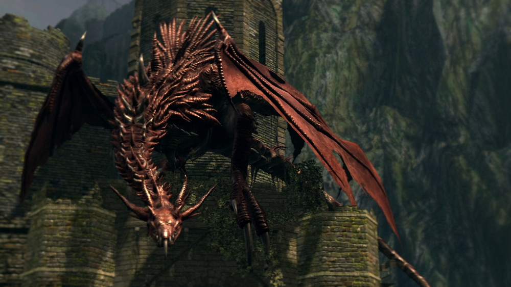 You don't see this guy at first, rather this is the view from after he's already killed you.   - Image from the Dark Souls Wiki