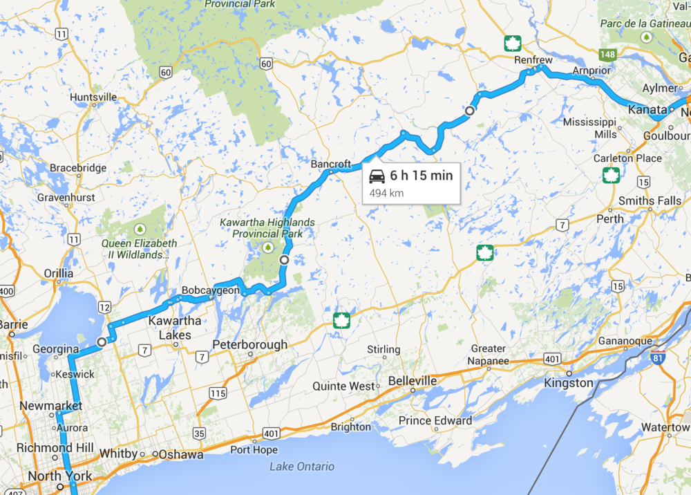 The scenic route from Toronto to Ottawa