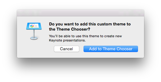 Keynote Themes are easy to add to the Keynote Theme Chooser for use in your next presentation.