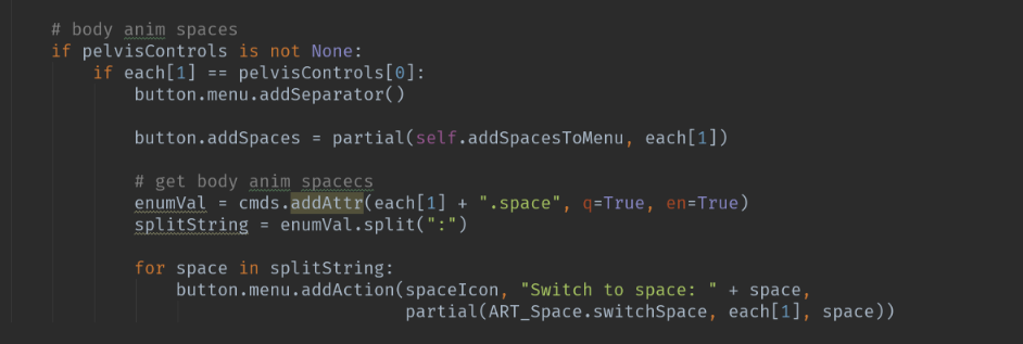 The original implementation in the torso's function that builds the picker. If the control was the body_anim, get its spaces, and add actions to the button class's menu.