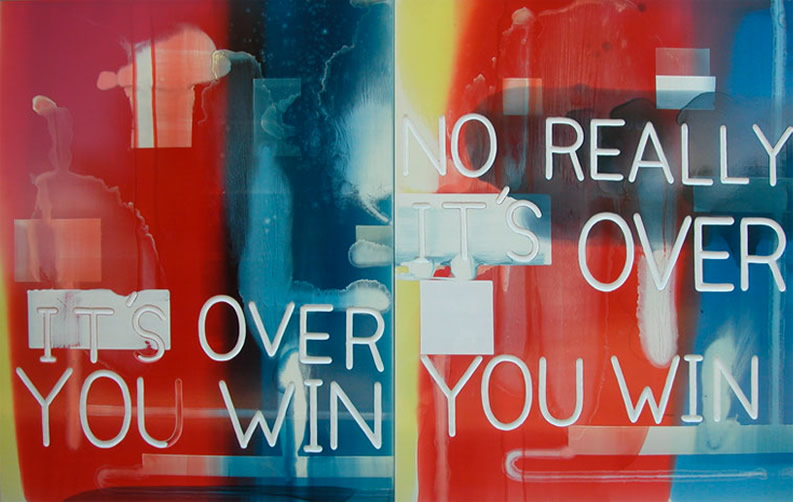 "Graham Gillmore It's Over you win, No Really it's over you win Oil and Enamel on Panel 60""x120"" 2011 www.grahamgillmore.com"