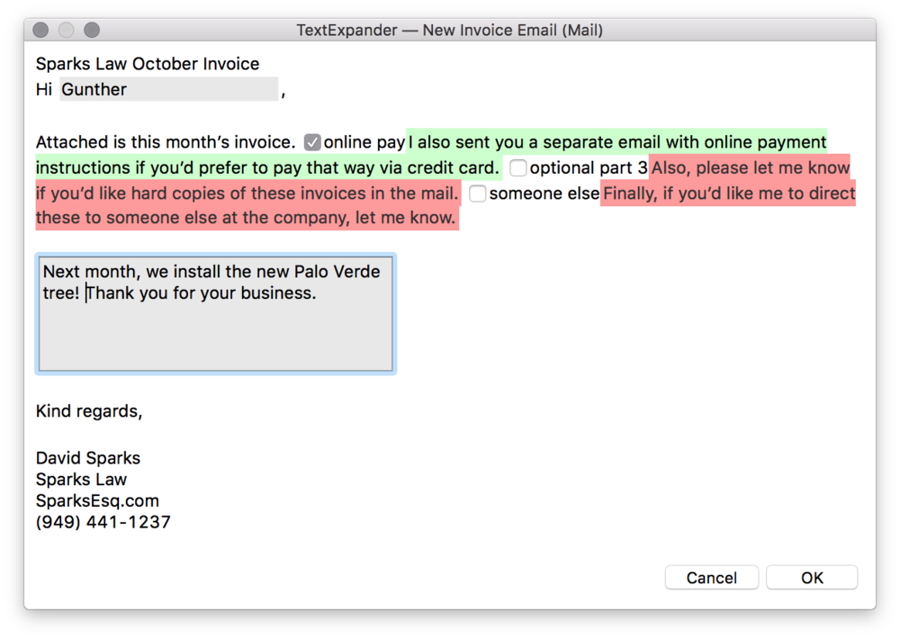 Automating Invoice Processing On My Mac MacSparky - Invoice message to client