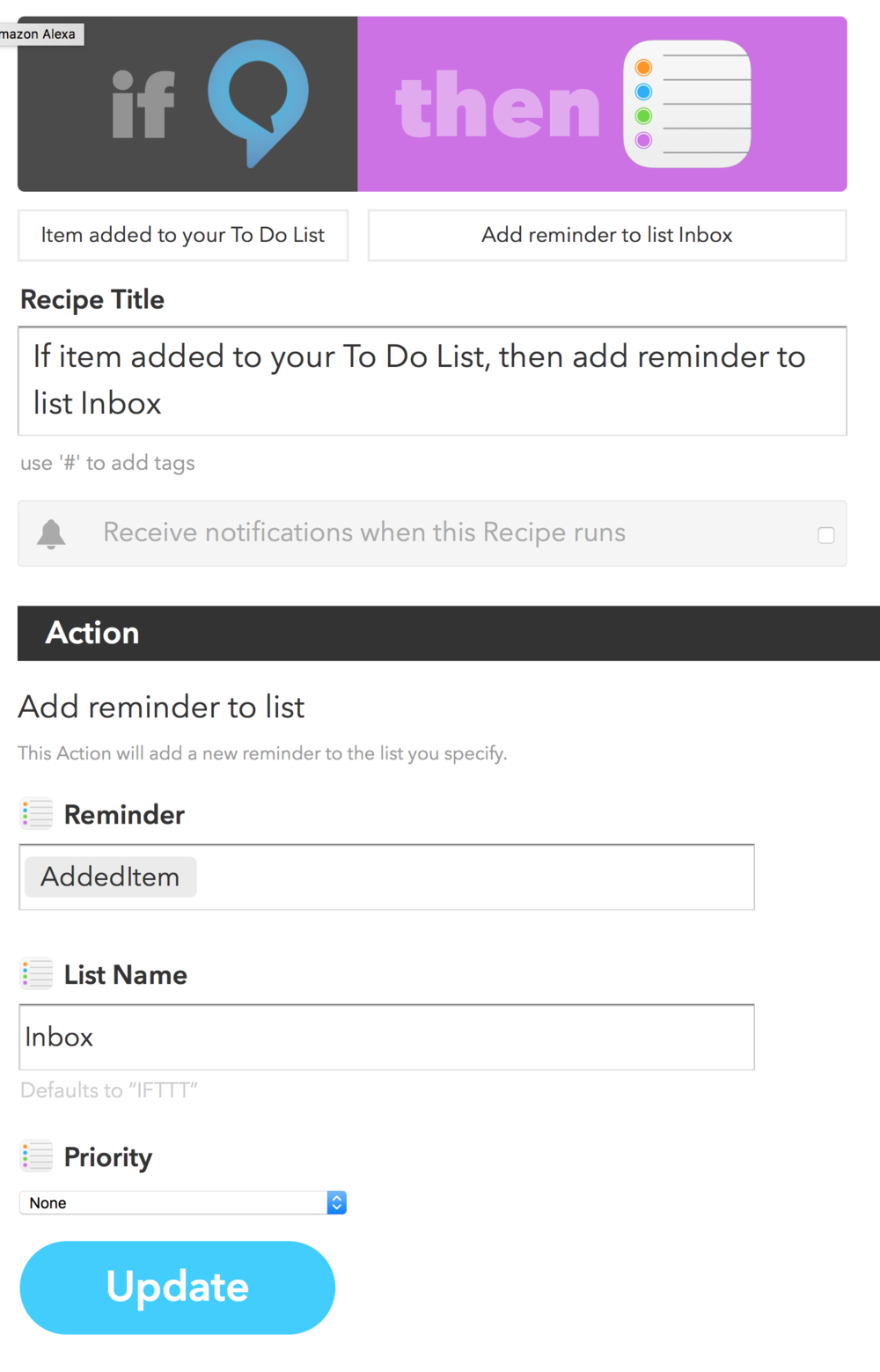 Moving Alexa To Dos to Apple Reminders via IFTTT