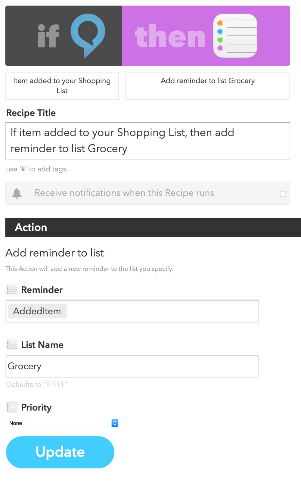 Moving Alexa Shopping List Items to Reminders Grocery List via IFTTT