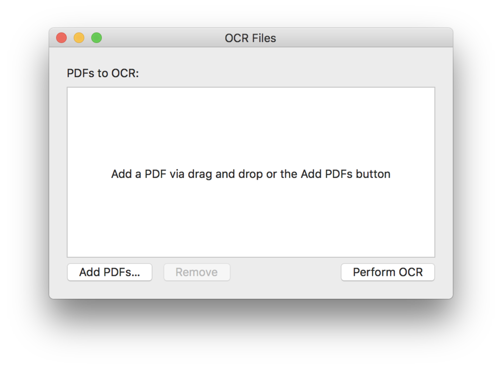 The PDFpen 10 batch OCR dialog box.