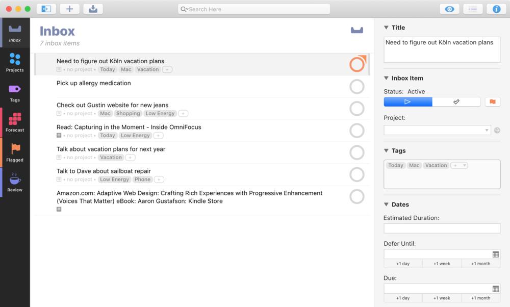 The new OmniFocus Inbox