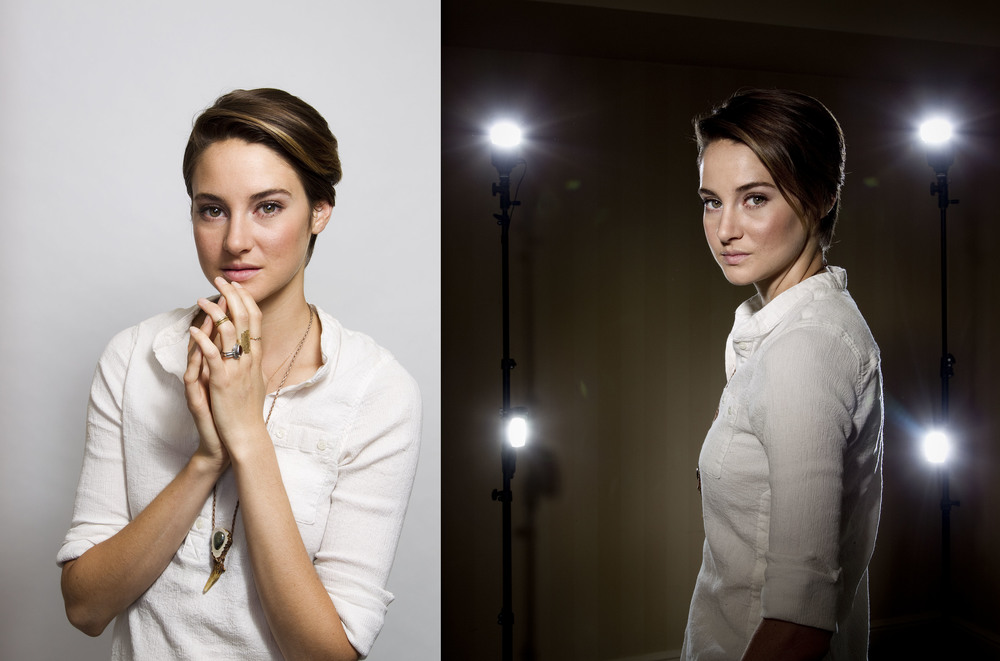 The dark and light sides of actress Shailene Woodley of Divergent.