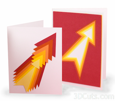 3DCuts.com, Marji Roy, 3D cutting files in .svg, .dxf, and pdf. formats for use with Silhouette and Cricut cutting machines, paper crafting files, Contour card arrow