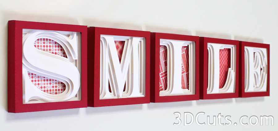 3DCuts.com, Marji Roy, 3D cutting files in .svg, .dxf, and pdf. formats for use with Silhouette and Cricut cutting machines, paper crafting files, alphabet shadow boxes, SMILE
