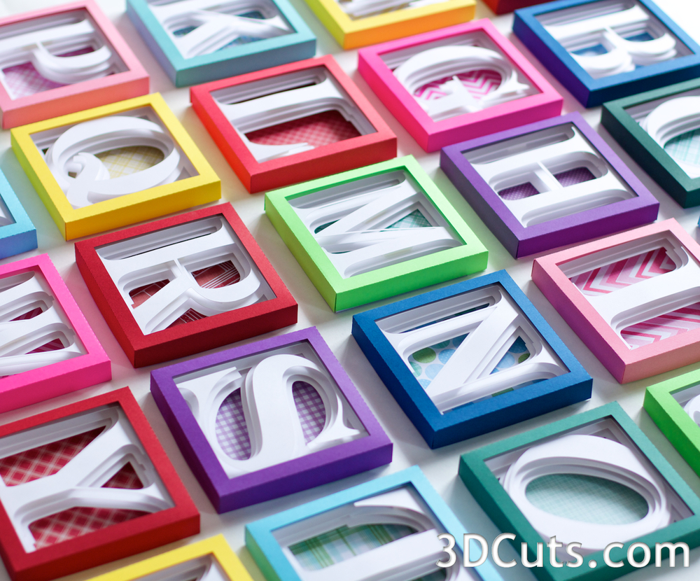 Alphabet Shadow Boxes by 3dCuts.com, SVG cutting files