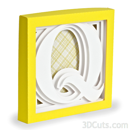 Alphabet Shadow Boxes by 3DCuts.com, Marji Roy, 3D cutting files in .svg, .dxf, and pdf. formats for use with Silhouette and Cricut cutting machines, paper crafting files, Letter Q