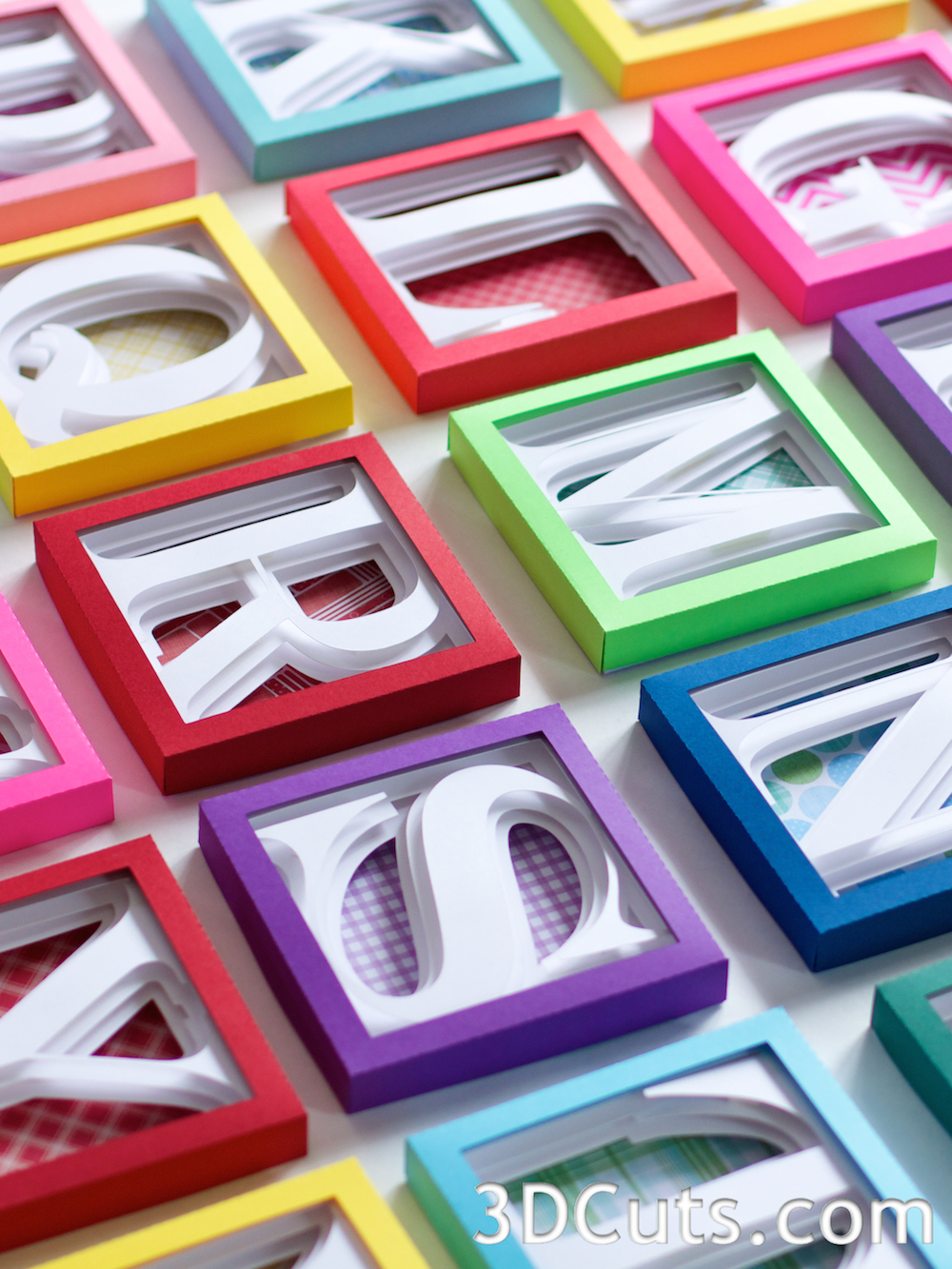 Alphabet Shadow Boxes by 3dCuts.com