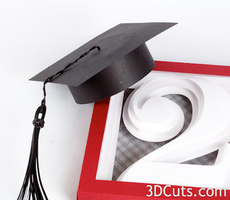 Graduation Cap by 3DCuts.com, Marji Roy, 3D cutting files in .svg, .dxf, and .pdf formats for use with Silhouette and Cricut cutting machines, paper crafting files