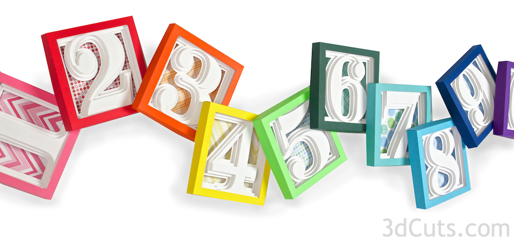 Numbers Shadow Boxes by 3DCuts.com, Marji Roy, 3D cutting files in .svg, .dxf, and .pdf formats for use with Silhouette and Cricut cutting machines, paper crafting files