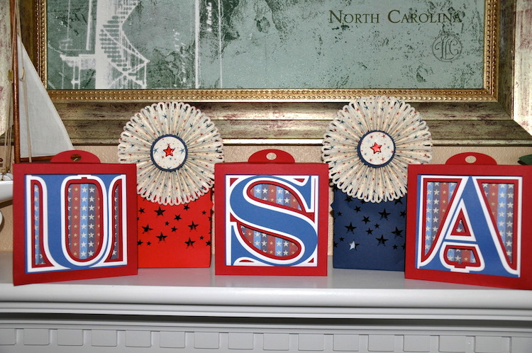 USA Decor by Geraldine Wold using 3dCuts.com Alphabet Shadow Boxes