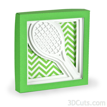 Tennis Racquet shadow box by Marji Roy of 3dcuts.com