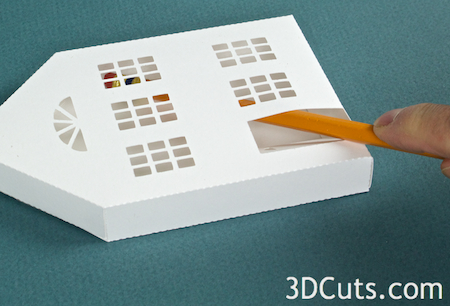 3DCuts.com, Marji Roy, 3D cutting files in .svg, .dxf, and pdf. formats for use with Silhouette and Cricut cutting machines, paper crafting files, Ledge Village Two Story House