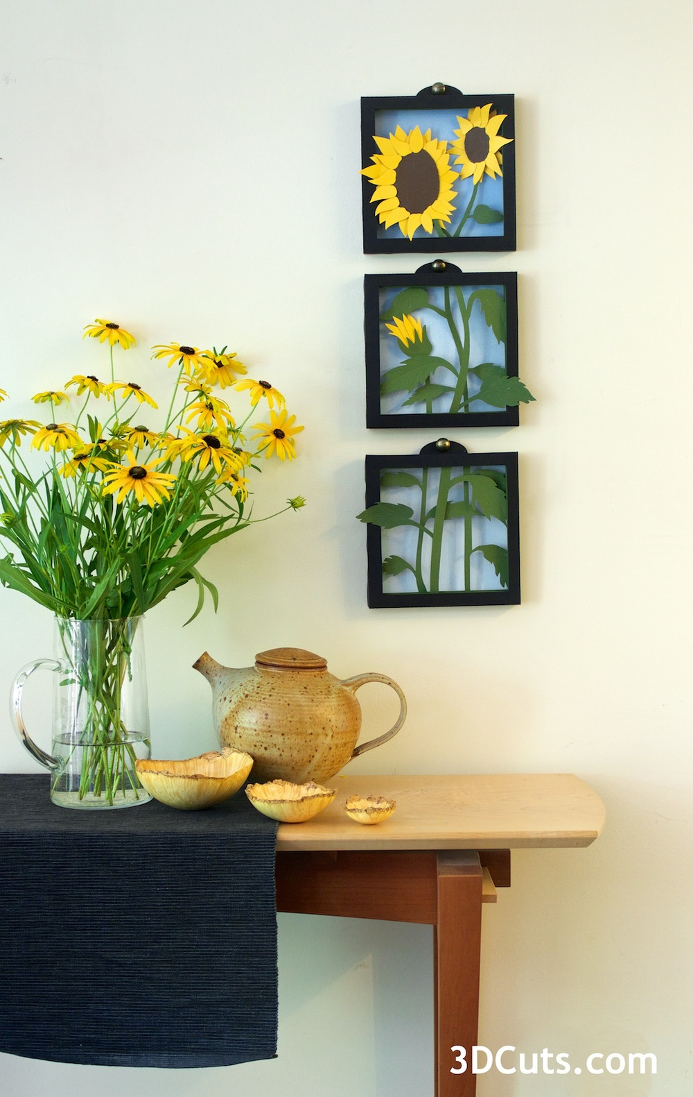Sunflowers in Paper - room setting