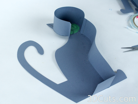 3d Cats by 3dCuts.com, Marji Roy, 3D cutting files in .svg, .dxf, and .pdf formats for use with Silhouette and Cricut cutting machines, paper crafting files, Halloween, Cozy Kitty, Classy Cat