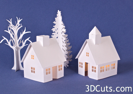 Tea Light Village by Marji Roy at 3dcuts.com. Designed for paper crafting with your Silhouette or Cricut cutting machine. Files in SVG, PDF, and DXF format