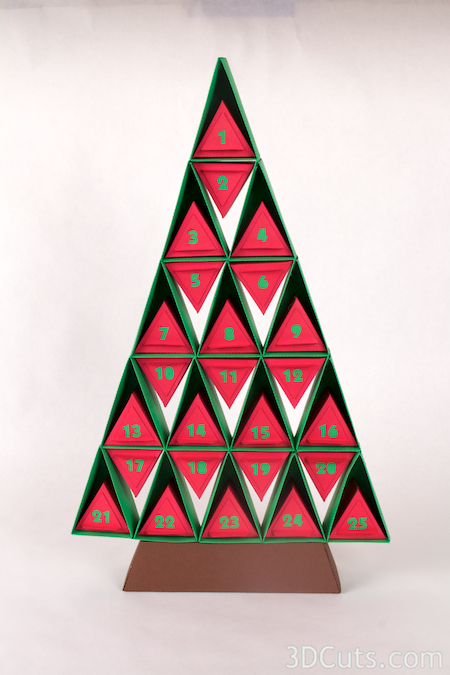 Advent Calendar Tree by Marji Roy of 3dcuts.com, 3D cutting files in .svg, .dxf, and .pdf formats for use with Silhouette and Cricut cutting machines, paper crafting files for Christmas