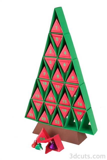 Paper Advent Calendar designed by Marji Roy of 3dcuts.com. Cutting files in SVG, PDF, and DXF formats available for cutting on Silhouette or Cricut. Complete tutorial included.