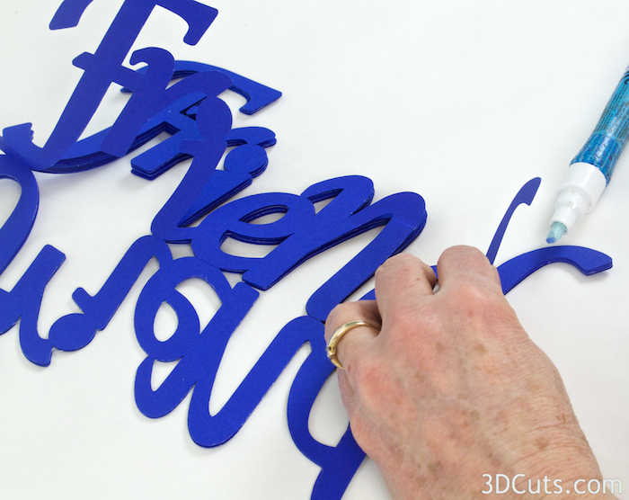 Calligraphic Word Mobiles designed by 3dCuts.com, Marji Roy, 3D cutting files in .svg, .dxf, and .pdf formats for use with Silhouette and Cricut cutting machines, paper crafting files, Perfect in place of banners for any celebration