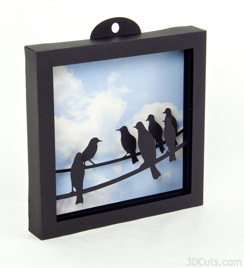 "3d Shadow Box "" Birds on a Wire"" tutorial by 3dCuts.com, Marji Roy, 3D cutting files in .svg, .dxf, and .pdf formats for use with Silhouette and Cricut cutting machines, paper crafting files"
